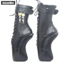 Jialuowei/сапоги на высоком каблуке 18 см/7 дюймов, с толстой подошвой; необычный стиль; женские пикантные Фетиш-балетки; ботильоны с замочком