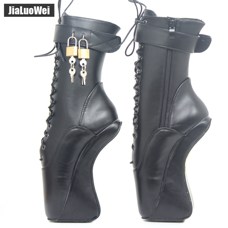 jialuowei 18CM/7 High Heel Hoof Sole Heelless Strange Style Boots Women Sexy Fetish Ballet Pointe Lockable Ankle Boots jialuowei brand new high heel 7 18cm wedges heel ballet boots sexy fetish lace up patent leather knee high long boots plus size