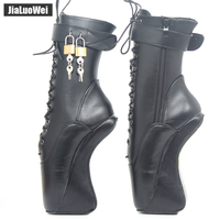 jialuowei 18CM/7 High Heel Hoof Sole Heelless Strange Style Boots Women Sexy Fetish Ballet Pointe Lockable Ankle Boots
