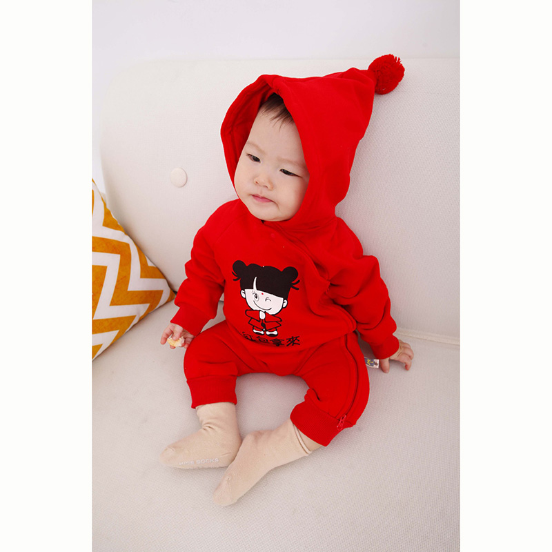 ad9b221fae Long Sleeve Hoodie One Piece Chinese New Year Clothing for 0 3 Years Baby  Boy Girl Blessing Baby Jumpsuit Romper Pajamas Onesie-in Rompers from  Mother ...