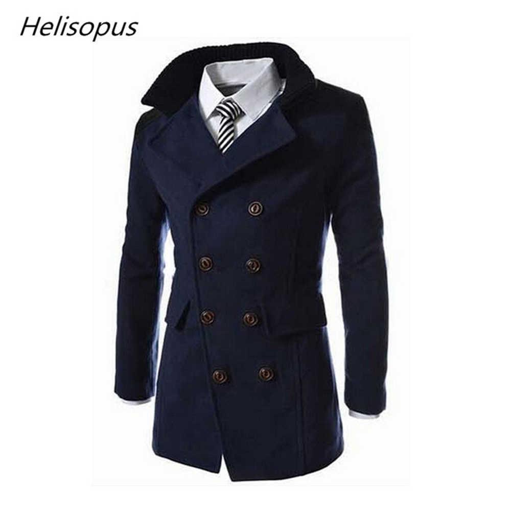 50feadd7373 Helisopus Men Warm Jackets Fashion Wool Blend Long Coat Men Turn-down  Collar Solid Color