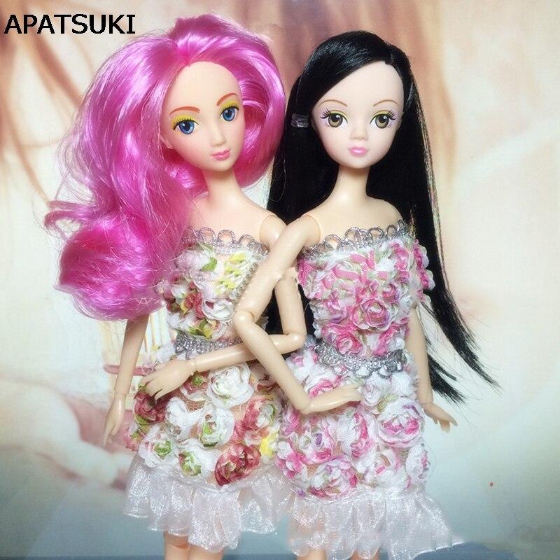 ộộ Flores Hombro Vestido Para Barbie Doll House Vestidos Vestidos