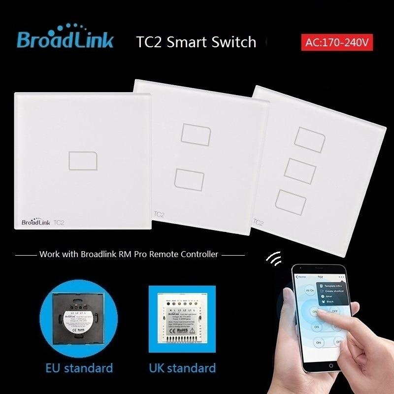 imágenes para Broadlink tc2 de la ue reino unido estándar 1 2 3 gang opcional, lámpara de luz interruptor de pared a través broadlink remoto móvil rmpro, cristal de vidrio, domotica