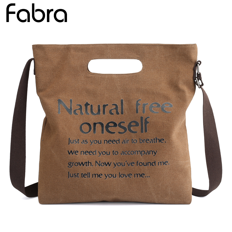 Fabra Brand Canvas Women Handbags Letter Printing Female Messenger Bag Vintage Shoulder Bags Casual Ladies Tote Bags Beach Bag fabra women beach canvas bag patchwork color stripes printing handbags lady large shoulder bag totes casual bolsa shopping bags