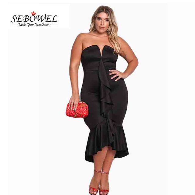 6dea0ba706b SEBOWEL Sexy Black Off Shoulder Party Dress Women Plus Size Strapless  Cascading Ruffle Hi-Lo Midi Dress Mermaid Vestidos XL-XXXL