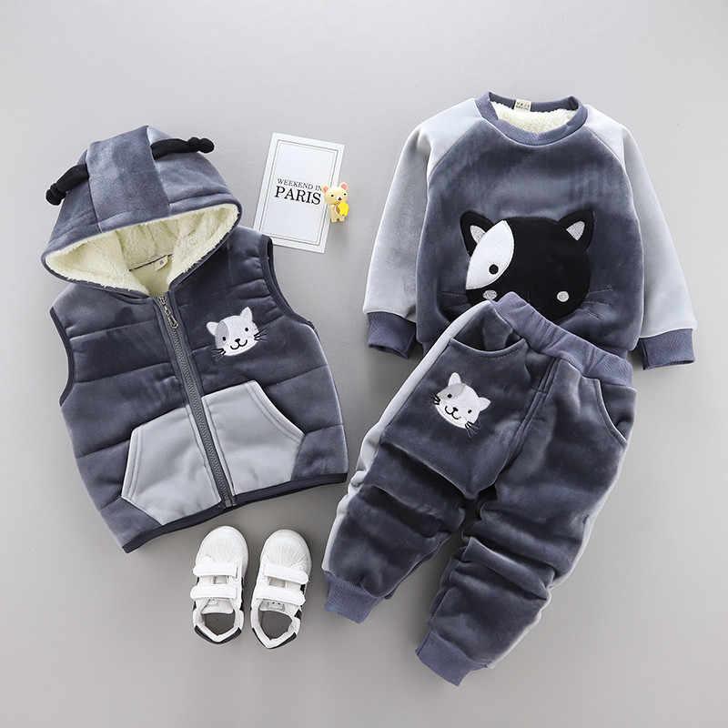 0-4 años invierno Niño niña ropa conjunto 2019 nueva moda casual cálido espesar chico traje de niños ropa de bebé chaleco + abrigo + pantalón 3 piezas