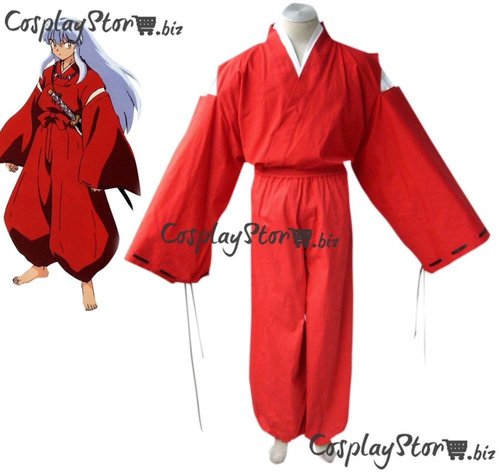 Newest InuYasha Cosplay Inuyasha Cosplay  Red Kimono Mens Cosplay Costume 2014