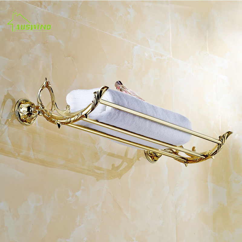 European Gold Solid Brass Towel Shelf Antique Leaf Carved Polished Towel Bar Holder 60cm Bathroom Accessories Products
