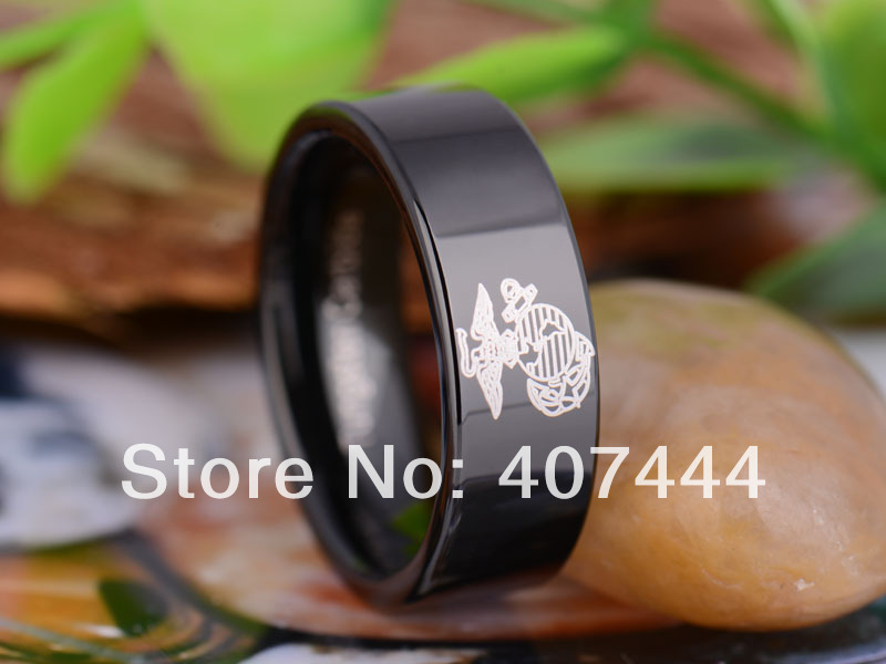 free shipping ygk jewelry hot sales 8mm black pipe military army marines one mens tungsten carbide - Military Wedding Rings