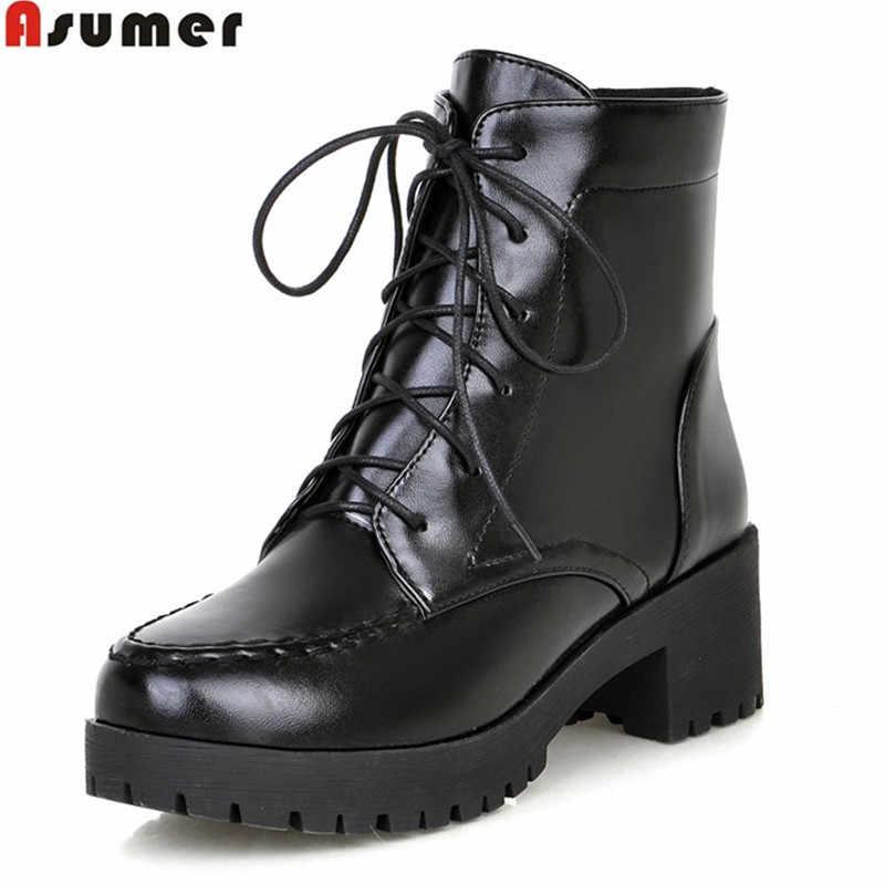 Asumer 2020 ขายร้อนใหม่มาถึงผู้หญิงรองเท้าแฟชั่น Lace Up LADIES รองเท้าสบายๆรองเท้าบู๊ทข้อเท้า Elegant ส้นรองเท้า