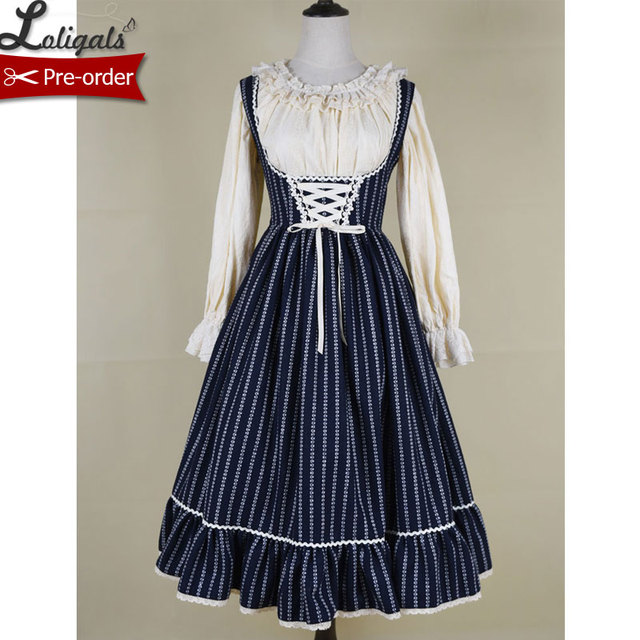 74c84f70dd2 Jennifer ~ Vintage Striped Salopette Corset Dress Casual Long Wool Dress by  Miss Point ~ Custom Tailored