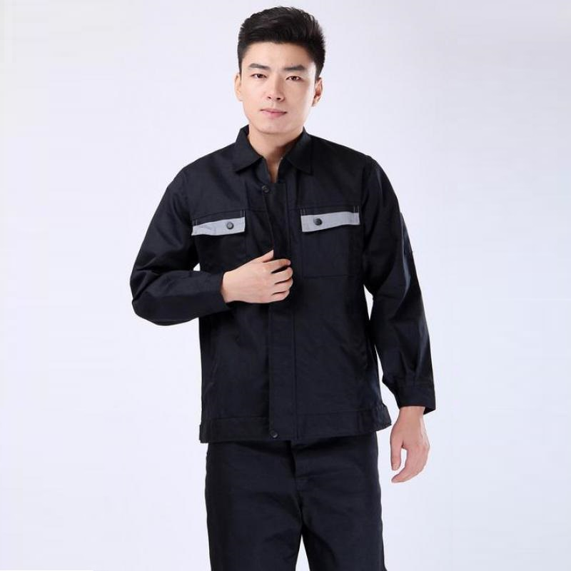 2 Piece Set Of Protective Working Clothes 2017 Loose Turn-down Collar Cotton Long Sleeve Clothing For Men Plus Size 4XL Hot Sale pockets turn down collar long sleeve men s shirt