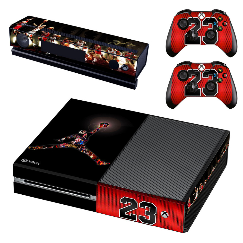 NBA Basketball Jordan Air Logo Skin Sticker for Microsoft Xbox One Kinect and Console and 2 Controllers Vinyl Game Stickers