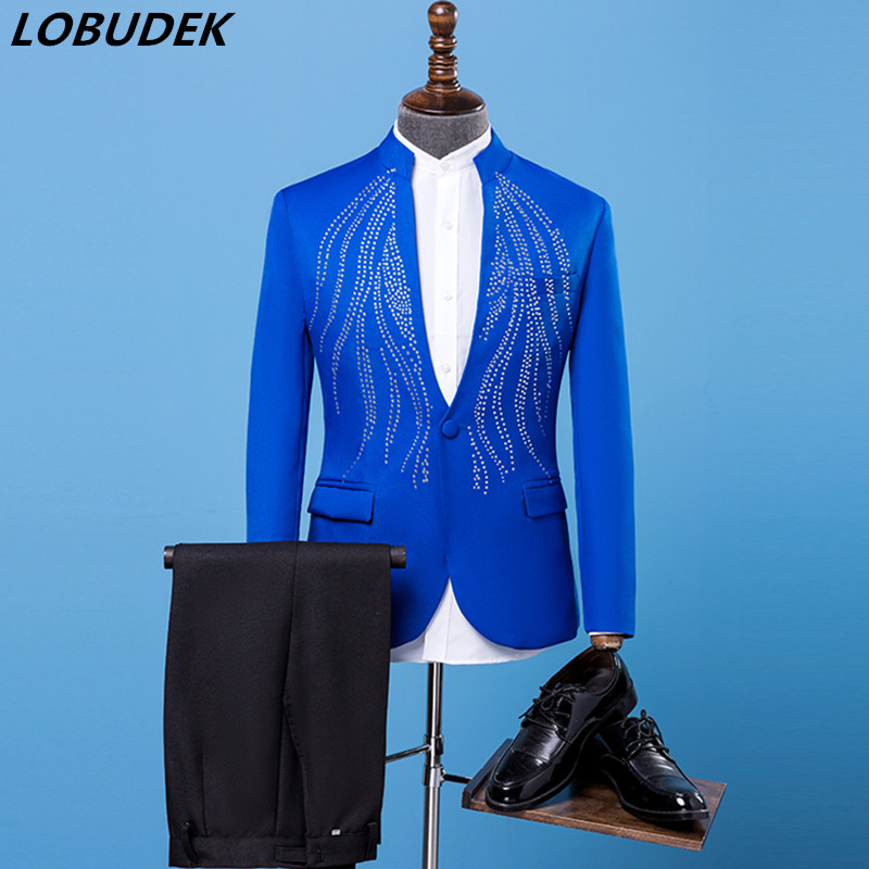 Formal Mens Suit Adult costumes blue shining Crystals suits Prom party singer stage performance clothes Host Wedding dresses