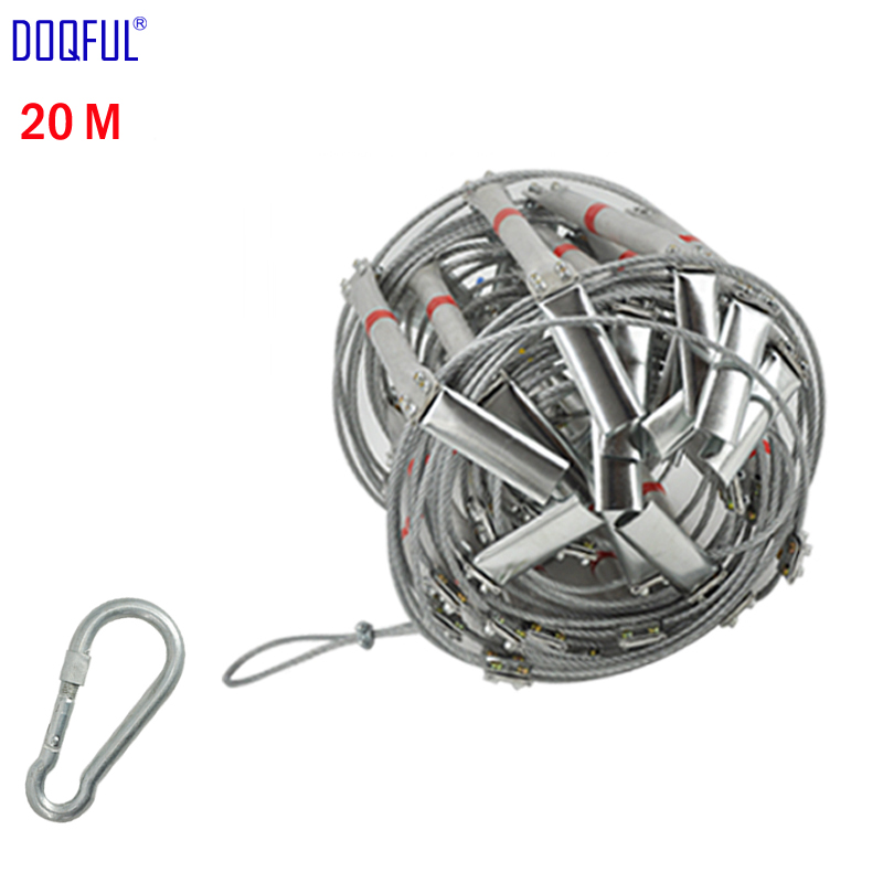 66FT Fire Escape Ladder 20M Folding Steel Wire Rope Ladders Aluminum Alloy Emergency Survival Rescue Safety Antiskid Tools