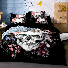 Flame Skull Bedding Set King 3D Print Gothic Duvet Cover Blue Fire Bedclothes 3pcs Fashion Home Textiles For Boys