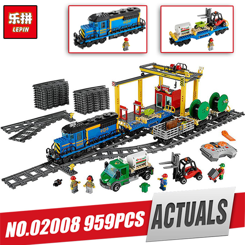 Lepin 02008 City Series the Cargo Train Set Building Blocks Bricks 60052 RC Train Children Educational LegoINly Toys as gifts lepin 02082 new 829pcs city series the cargo terminal set diy toys 60169 building blocks bricks children educational gifts model