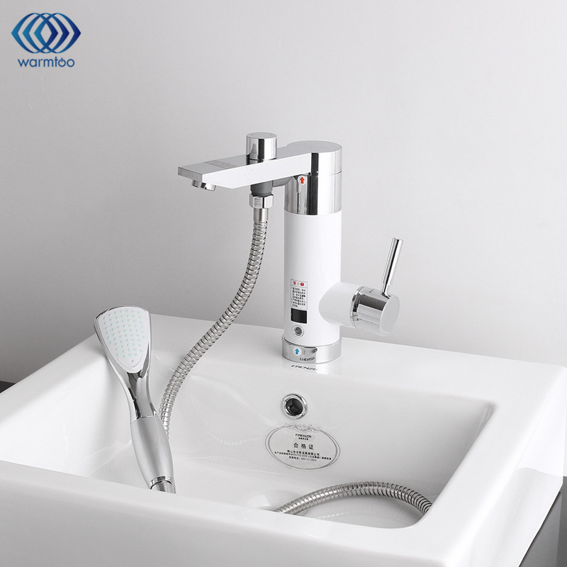 Kitchen Instant Tankless 220V Electric Water Heater Faucet Cold & Hot Mixer Tap Under Water Electric Heating Bathroom 3000W instant electric water heater faucet cold