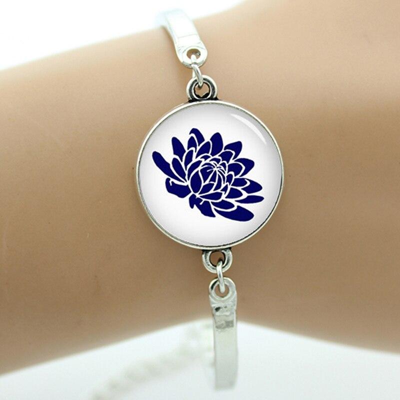 Charm Blue Lotus Flower Women Bracelet Glass Cabochon Moroccan Art