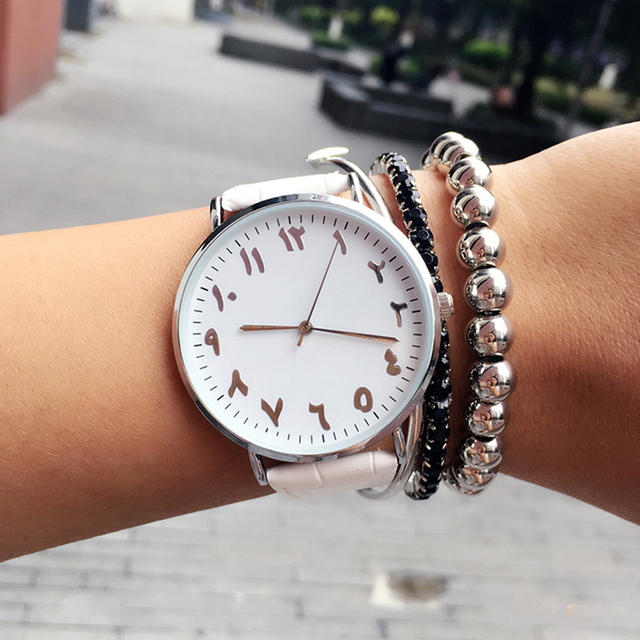 2018 fashion Arabic numbers design women watches BGG top luxury brand leather fe