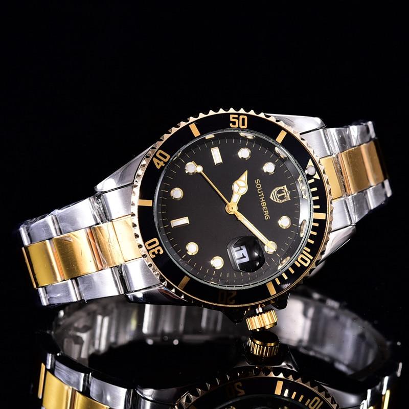 2017 SOUTHBERG Luxury Fashion Mens Watches Quartz Steel Top Brand Green Wrist Watch For Man relogio masculino цена