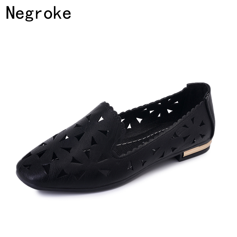 Summer Low Heel Women Shoes Solid Color Hollowed-Out Rubber Sole Flats Wear Resistant Breathable Casual New Shoes Women