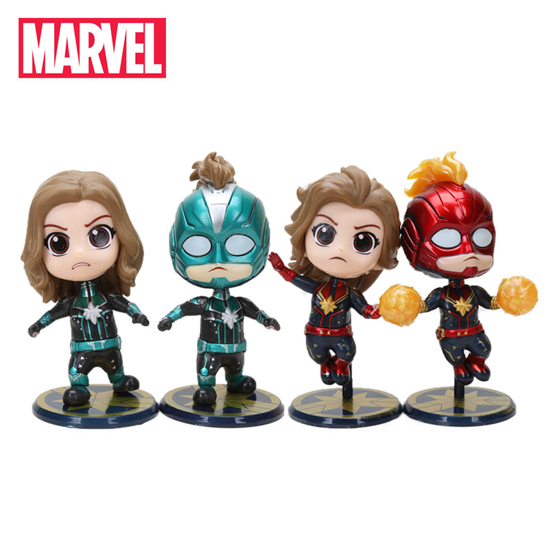 10cm 4pcs/set Marvel Toys Avengers Endgame 4 Captain Marvel PVC Action Figure Superhero Carol Danvers Q Version Mini Model Dolls(China)