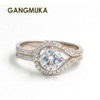 Envío Gratis PEAR cut forma 5A ZIRCON CZ 925 de plata esterlina anillo de compromiso SZ 5-11 envío libre regalo