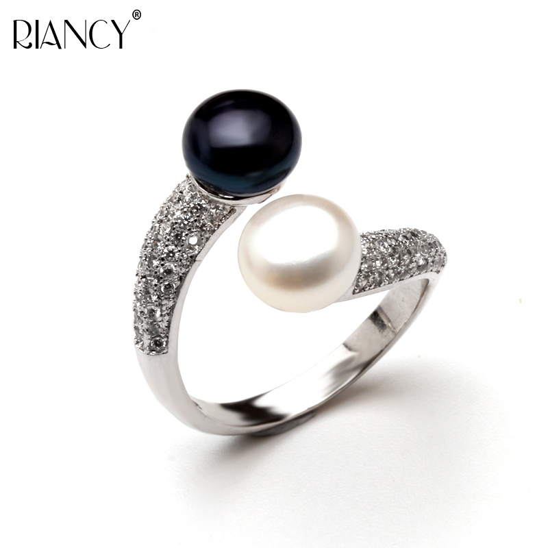 Fashion Adjustable Open Ring 925 Sterling Silver High Quality Black Pearl Wedding Rings for Women and Men Jewelry box Gift