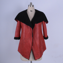 2017 new Winter Fashion High-end European and American version Faux leather sheepskin for women's coat fur Factory wholesale
