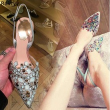 Stiletto Heels Dress-Shoes Sexy Pumps String Pointed-Toe Party Woman Bead Crystal Colorful
