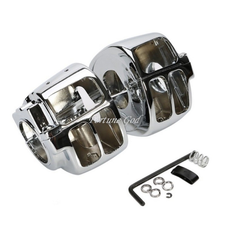 Chrome Silver Switch Housings Cover For Harley Davidson Sportsters Softail 96-12 chrome custom motorcycle skeleton mirrors for harley davidson softail heritage classic