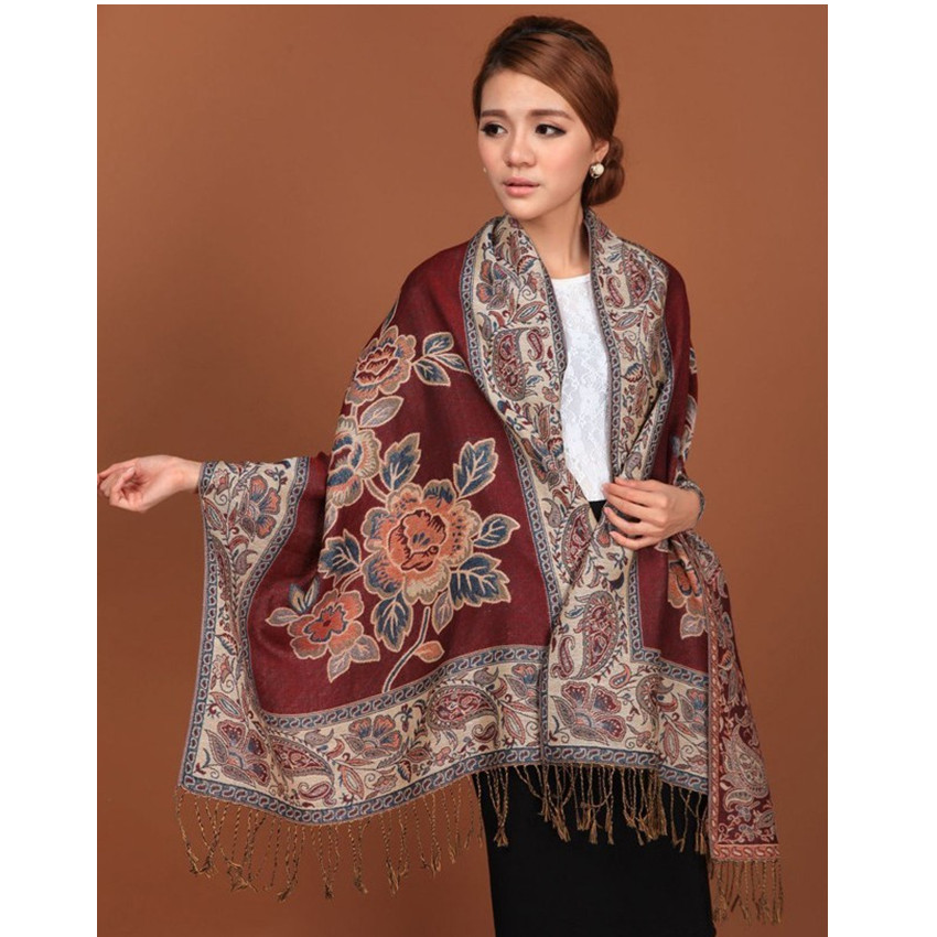 Burgundy Hot Sale Fashion Double Faces Fancy Paisley Women's Pashmina Shawl/  Scarf     Wrap   Peony Free Shipping RH-1D