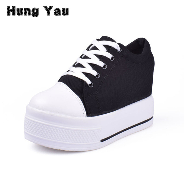 Hung Yau Women Loafers Casual Shoes Platform Heels Round Toe Black Wedge  Height Increasing Canvas Sneakers