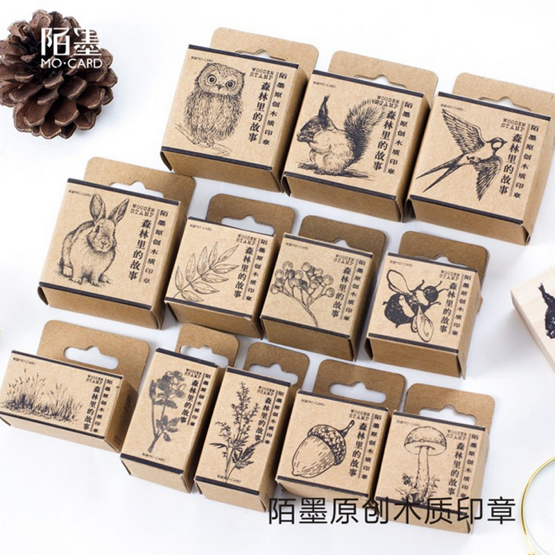 Vintage Animal Geometric Debris Stamp DIY Wooden Rubber Stamps For Scrapbooking Stationery Scrapbooking Standard Stamp