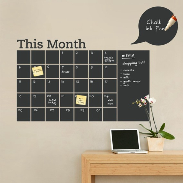 64*100cm This Month Blackboard Removable Vinyl Wall Sticker Modern Home  Office Decor Monthly Chalkboard
