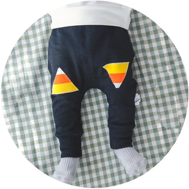 Roupa do bebê Da Criança Calças Coreano Calças de Barra de Cores Padrões Geométricos Novo Nascidos Meninos E Meninas Calças de Algodão Para O Outono Winte