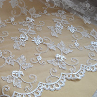 New High End Elegant Fine Workmanship Tulle Mesh Embroidered Bright White Wedding Lace Fabric Cording Bridal Gown Lace RS979