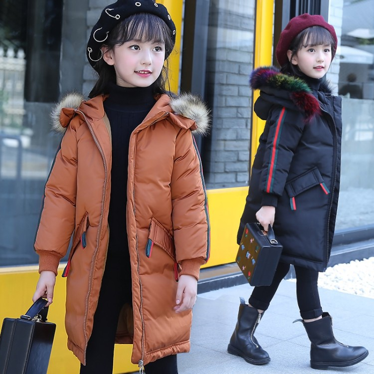 Children's Clothing 2018 Winter Girls Down Cotton Padded Coat Long Kids Fashion Colorful Faux Fur Hooded Thick Jacket Outerwear children s clothing girls winter down jacket 2018 baby kids long fur hooded thick outerwear toddler girl warm padded cotton coat