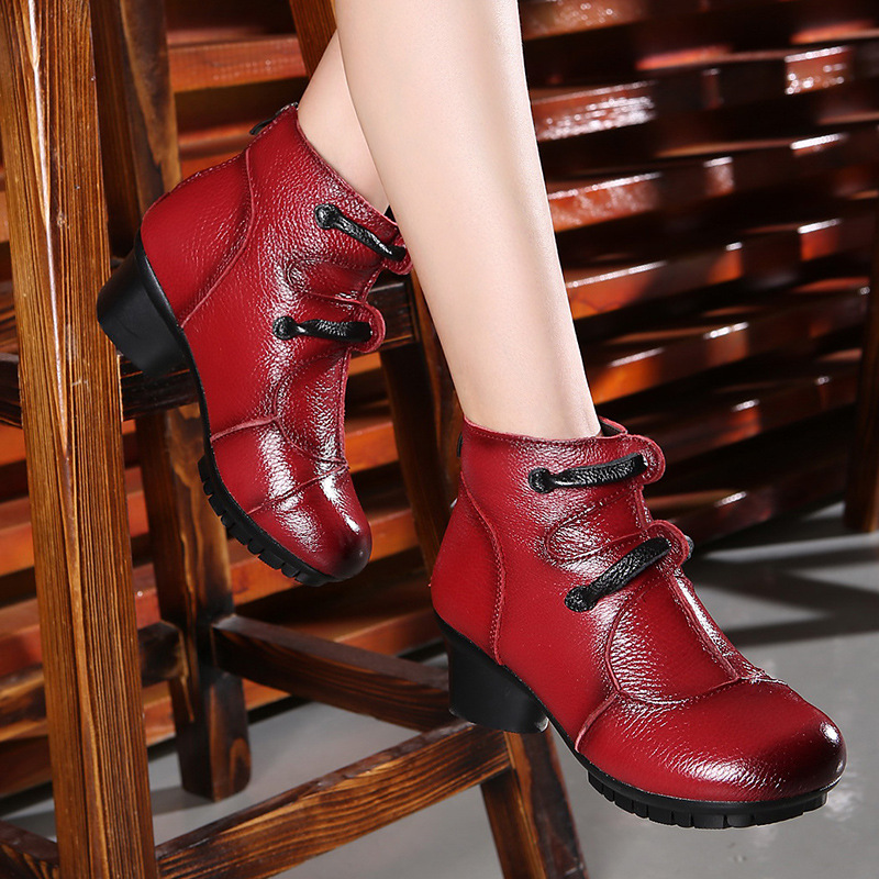 ФОТО Personality folk style retro leather ankle boots ladies heels shoes mother handmade rough with female shoes