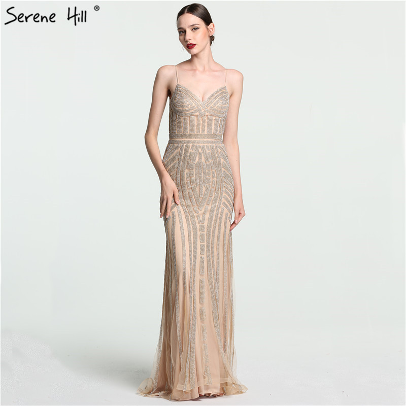 2018 Luxury Nude Gold Diamond Floral Long Evening Dress Spaghetti Straps Pattern Formal Dresses Gown Real Picture BLA6002