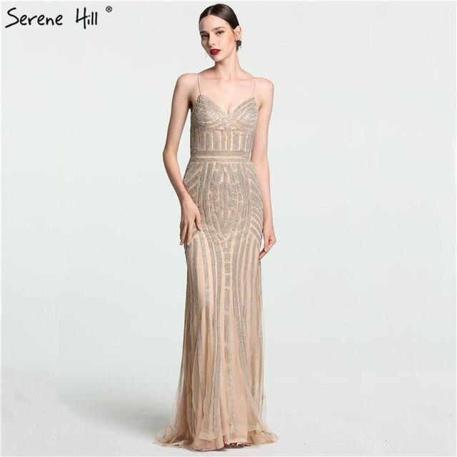 cd4e6ff7b4a5 2018 di Lusso Nude Oro Diamante Floreale Lungo Vestito Da Sera di Spaghetti  Cinghie Modello Abiti ...