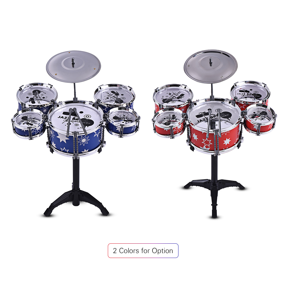 Kids Jazz Drum Set Kit Musical Educational Instrument Toy 5 Drums + 1Cymbal with Small Stool Drum Sticks Percussion Instrument