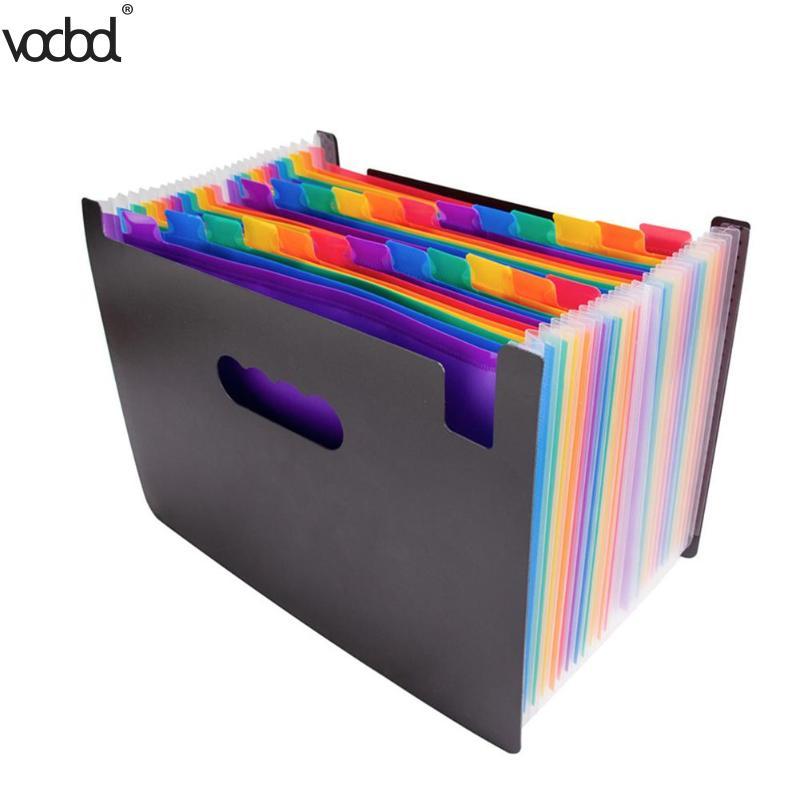 24-capa grande bolsa de documento Arco Iris acordeón A4 clasificación de documentos herramienta de negocios expansión de las carpetas de archivo de presentación de los productos