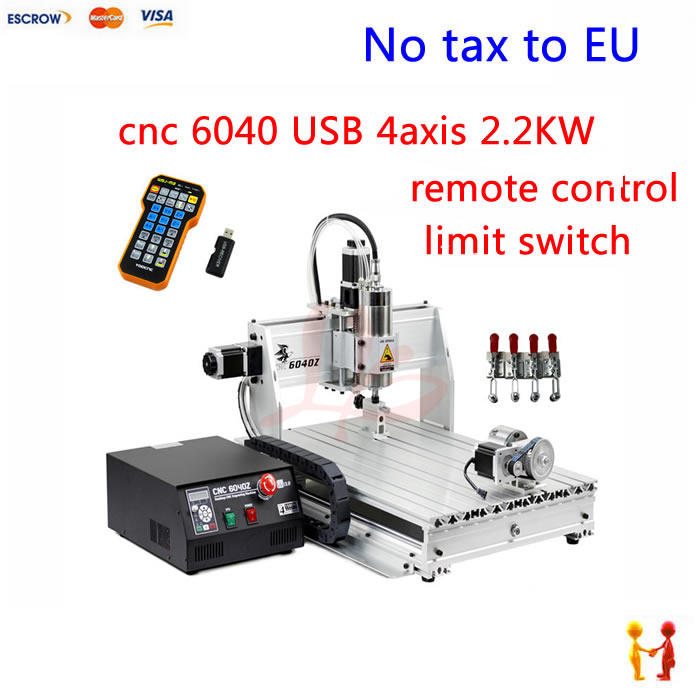цены  (EU Free Taxes!) Limit Switch LY CNC 6040 2.2kw 4 Axis engraving milling Machine for stone metal carving with USB port