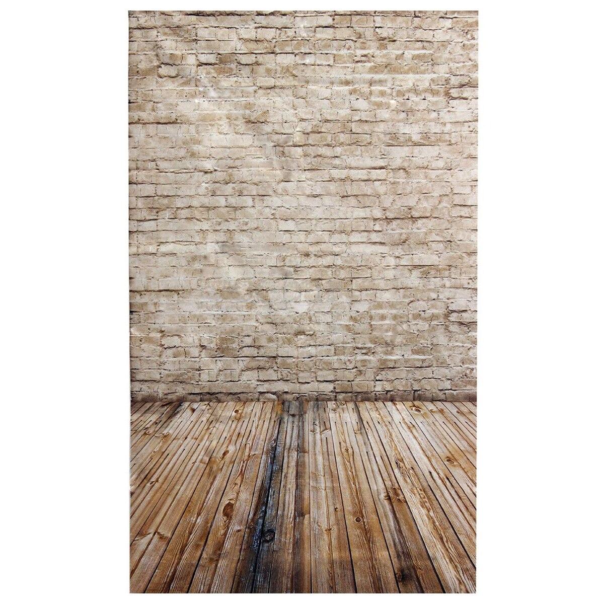 3x5FT Brick Wall Photography Backdrop Photo Wooden Floor Studio Background Props Light Grey