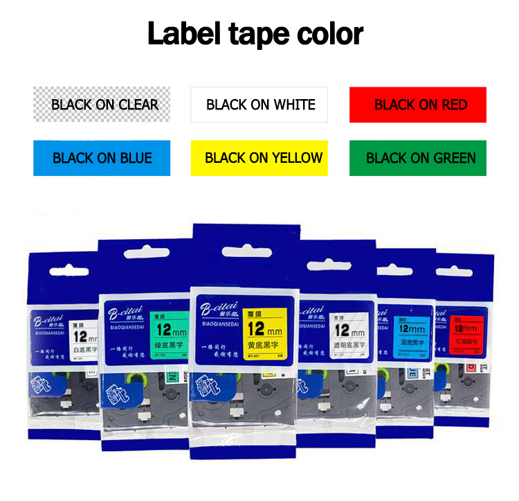 6 mix colors 12mm TZe Tape for <font><b>Brother</b></font> Label Tape P Touch TZe-131 TZe-231 TZe-431 TZe-531 TZe-631 TZe-731 <font><b>PT</b></font>-<font><b>D210</b></font> <font><b>PT</b></font>-H110 image