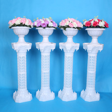 European Style Hollow Out Artificial Roman Columns Plastic Pillars Road Cited Wedding Props Event Decoration Flower Ball 2pcs