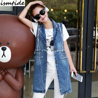 Sleeveless Jackets Denim Vests Women Blue 2017 Office Lady Elegant Long Outerwear Casual Brand colete feminine Female vest
