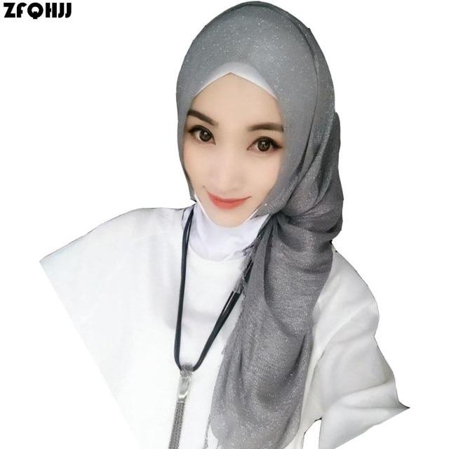ZFQHJJ 2017 Women Shimmer Muslim Hijab Turban Solid Plain Viscose Glitter Shinny Lurex Hijabs Scarf Shawl Tassel Foulard Scarves